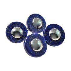 Jona Lapis Lazuli Sterling Silver Cufflinks | From a unique collection of vintage cufflinks at https://www.1stdibs.com/jewelry/cufflinks/cufflinks/