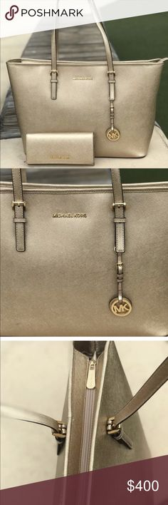 Michael Kors Gold Jet set handbag and wallet NWT Michael Kors Top Zip Tote in Pale Gold from the Jet Set Travel Collection. It is brand new with tags on the inside pocket. A dust bag is also included. It is a very roomy bag- ideal for those who need the e