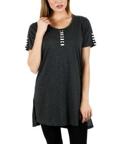 Take a look at this Gray Button-Front Tunic - Plus on zulily today!