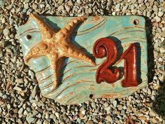 Starfish house number sign