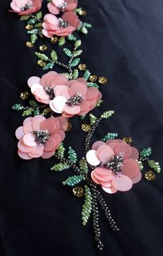 Embroidery Designs Hand-made motif with pink sequins flowers and beaded leaves Tambour Embroidery, Bead Embroidery Patterns, Couture Embroidery, Bead Embroidery Jewelry, Silk Ribbon Embroidery, Embroidery Fashion, Hand Embroidery Designs, Embroidery Stitches, Sequin Embroidery