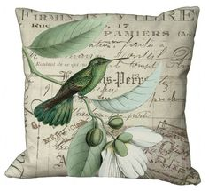 Items similar to Warmer Green Hummingbird on French invoice Square or Oblong in Choice of inch Pillow Cover on Etsy Diy Pillow Covers, Diy Pillows, Couch Pillows, Decorative Pillows, Pillow Ideas, Throw Pillows, Custom Printed Fabric, Printing On Fabric, Canvas Fabric