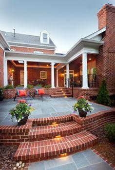 Container Gardening: Best Tips & Tricks - Porch Advice Patio Steps, Diy Patio, Backyard Patio, Patio Decks, Patio Planters, Brick Porch, Brick Patios, Patio Furniture Makeover, Patio Makeover