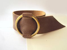 Brown Leather Bracelet Leather CuffBrass CircleEveryday