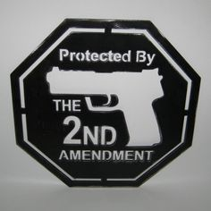 Protected by the Second Amendment Gun Home Security Sign Handmade Custom Metal Sign Art Plasma Cut. $37.00, via Etsy.