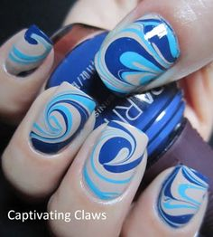 blue water marble nails love the gray #blue #watermarble #nails #manicure #nailart