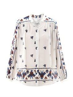 cream silk blouse in an aztec print by SEA NY