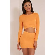 a5c3fdf9bab Alena Bright Orange Cross Front Bandage Crop Top (£6) ❤ liked on Polyvore  featuring tops, bright orange, party crop tops, going out crop tops, beige  crop ...