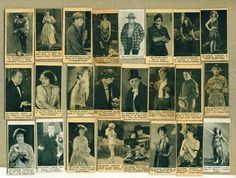 1920's silent film stars strip cards: GRACE  DARMOND, MABEL NORMAND, FRANK MAYO, JACK HOLT, WANDA HAWLEY, MILTON SILLS, DOROTHY GISH, THEODORE KOSLOFF, CONSTANCE TALMADGE, RICHARD BARTHELMESS, LIONEL BARRYMORE, CHARLES RAY, ALICE BRADY, VIOLA DANA, WALTER HIERS, MAY McAVOY, BEBE DANIELS, CLAIRE WINDSOR, OWEN MOORE, MARIE PREVOST, ELSIE FERGESON, LARRY SEMON, AND NORMA TALMADGE.