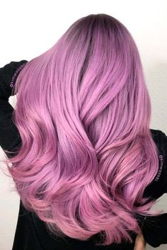 55 Dreamy Lilac Hair Color Ideas: Lilac Hair Dye Tips - Hair - Hair Lilac Hair Dye, Pink Purple Hair, Hair Color Purple, Ombre Hair, Dyed Hair, Violet Hair, Light Purple, Pastel Pink, Pastel Lilac Hair