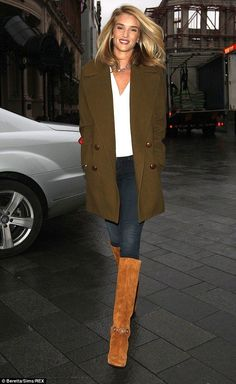Rosie Hungtington-Whiteley.. Isabel Marant Ziggy wool coat + Paige Denim Verdugo Jeans in Moscow + Emilio Pucci suede boots with plexiglass heel..