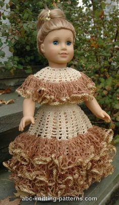 ABC Knitting Patterns - American Girl Doll Southern Belle Dress II.