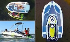 Wave Boat 444 converts a jet-ski into a five-seater boat Wave Boat, Sun Roof, Farm Hero Saga, Jet Ski, Skiing, Waves, Mail Online, Daily Mail, Healthy Living