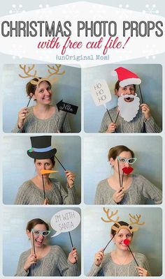 Christmas Photo Booth Props with FREE cut file. Brought to you by Hidden Valley