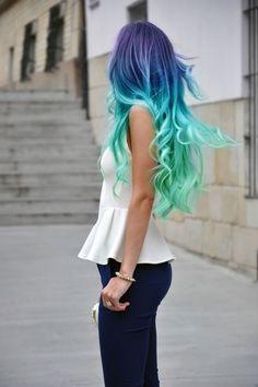 hair colors, colored hair, colorful hair, mermaid hair, color blue
