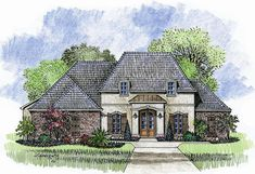 Madden Home Design - The Avoyelles; 2398 LA total 3369 square feet 4 bedroom, 3 bath French Country house plan