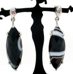 """Gemstone Pierced 925 Earrings - This is a pair of sterling silver drop earrings with faceted marquis banded agates. The earrings are signed TGGC, hallmarked 295, weigh 11.1 grams, and measure 1.63"""" by"""