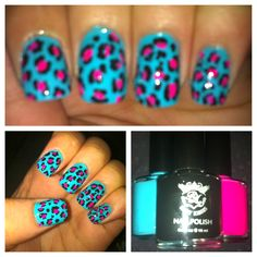 Bright Leopard Print Nail Art. Done with Ruby Kisses: Pink Flamingo, Teal Envy & Pure Black. ~NSP ❤
