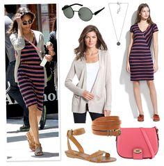 Celebrity Look 4 Less - Zoe Saldana's Striped Madewell Dress