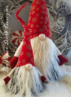 Swedish Norwegian TOMTE NISSE GNOME or SANTA can be Christmas Decor or all year round Decoration! Features bendable hat and arms to position any way you desire! Featuring a weighted bottom for extra stability! There may be slight differences in ones pictured as each one is individually handmade , every thread stitched carefully with lots of love!  THIS LISTING IS FOR ONE GNOME: The 18 Smaller one you see individually in photos.  THE GNOME FEATURED FOR THIS LISTING: Hat is made with beautiful…