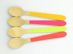 Neon washi tape covered small disposable wooden spoons - set of 12