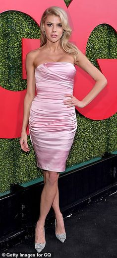 Glamorous  Charlotte McKinney looked pretty as a picture in a pastel pink  silk strapless d a6ccce6e4