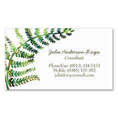 Fern Bussiness Card Business Card. I love this design! It is available for customization or ready to buy as is. All you need is to add your business info to this template then place the order. It will ship within 24 hours. Just click the image to make your own!