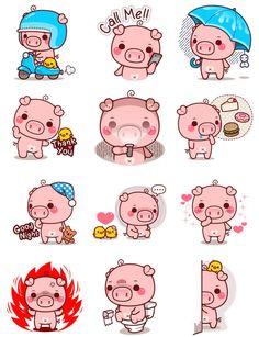 Pigs Diy Kawaii, Kawaii Pig, Baby Pigs, Pet Pigs, This Little Piggy, Little Pigs, Pig Illustration, Illustrations, Wallpaper Kawaii