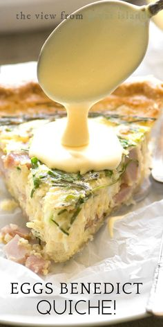 Eggs Benedict Quiche with Hollandaise Sauce ~ this brilliant hack lets you enjoy your favorite luxury breakfast in easy sliceable form ~ complete with little chunks of Canadian bacon, and a quick and creamy hollandaise sauce! Breakfast Cake, Breakfast Dishes, Breakfast Recipes, Vegan Breakfast, Breakfast Casserole, Breakfast Ideas, Quiche Recipes, Brunch Recipes, Dinner Recipes