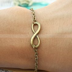 Bracelet--infinity karma bracelet for girlfriend, vintage boyfriend infinity bracelet, gift for friends. $4.99, via Etsy.