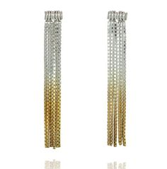Inspired by the roaring 20's, these earrings will look elegant and stylish at any time of the day.  Made from sterling silver each individual chain has graduated gold plated chain ends that create a rocking ombre look.  Drop earrings with a stud backing.