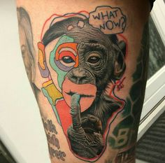 By Dzikson | #Tattoo #Monkey #Realism #Abstract #Art #Freestyle #Wildstyle #DziksonStyle #Chimpanzee