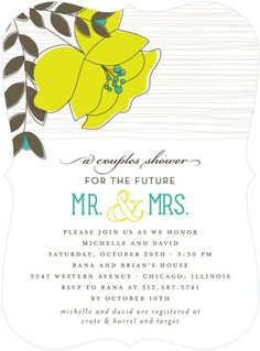Mister and Missus - Signature White Bridal Shower Invitations - Le Papier Boutique - Margarita - Green : Front