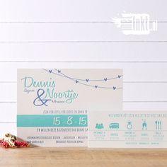 Letterpress trouwkaart met hartjes en leuke typografie