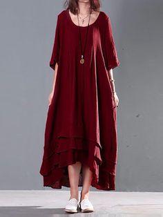 Mulheres de manga curta de cor sólida longo maxi vestido de algodão do vintage
