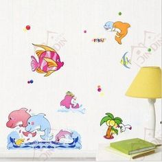 Wall Stickers for Kids Stick Wall Decals Wall Decals Decoration Wall Sticker Decal - Happy Dolphin by bigbvg, http://www.amazon.com/dp/B0088O23U0/ref=cm_sw_r_pi_dp_dig0pb18V3VH4