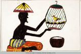 A Boy Feeding His Wounded Bird by an 8 year old boy from Indonesia in 1973. Multi-colored drawing 15.0 cm x 22.5 cm. The composition depicts a male's profile sitting on a cushion holding a cage with a yellow bird. The figure is painted black with no details on the face, body, and hands. He is wearing colorful garments and hat. The colors are typical of the Indonesian culture. He may be depicting a reality event in his life or the wounded people and animals from the civil war in earlier…