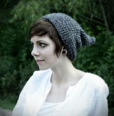 Grey Pixie hat for women - Crocheted oversized slouch hat for adults - Pointed beanie