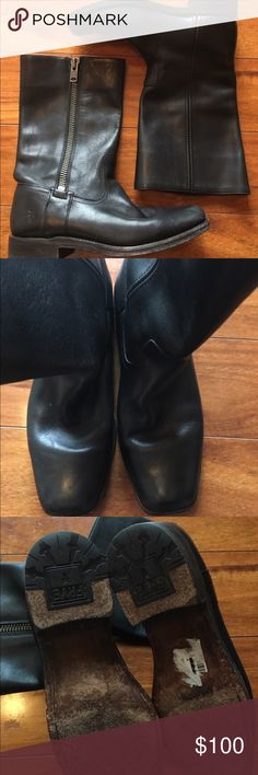 """Frye exposed zip boots Frye Heath boots. Black with exposed outside zip. Used but good shape. Lightly worn and barely broken in. See pics. Measurements from their site- shaft height 11"""", heel 1.5"""", circumference 13.5"""". Please please-if making an offer-be respectful and save both of us time-if you're going to offer 40% + off my asking price, it will be declined. Frye Shoes Combat & Moto Boots"""