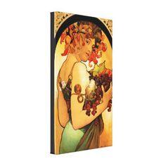 Alphonse Mucha Fruit Canvas Poster