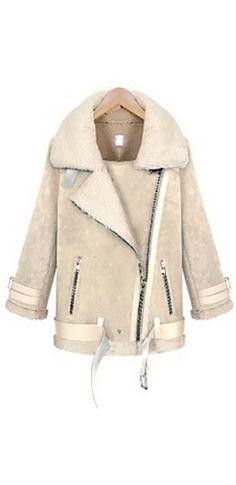 Beige Sherpa Trim Long Sleeve Asymmetric Zip Moto Shearling Coat Romwe, Khaki Coat, Cute Coats, Cape Jacket, Shearling Coat, Fall Wardrobe, What To Wear, Leather Jacket, Beige