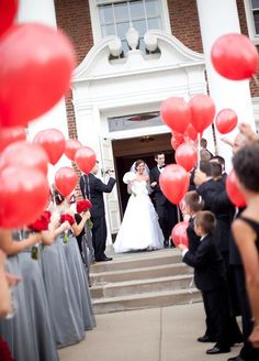 Nothing says celebration like balloons! A great way to get gorgeous photos, without having things thrown at you! Wedding Ideas, Ceremony, Wedding Send Off Ideas