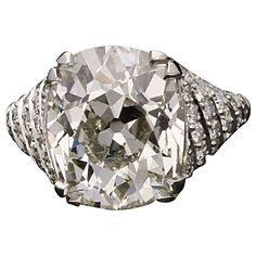 10.15 Carat Victorian Magnificent Old Mine Cushion Cut Diamond Platinum Ring | See more rare vintage More Rings at http://www.1stdibs.com/jewelry/rings/more-rings