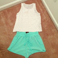 Mint green Forever 21 shorts silky soft Forever 21 shorts.  Size XS   Pretty mint green shade.  They are unlined. Forever 21 Shorts