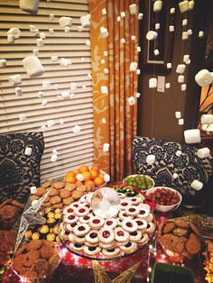 DIY dessert table and marshmallow chandelier