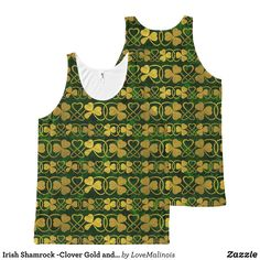 Irish Shamrock -Clover Gold and Green pattern All-Over-Print Tank Top - Comfy Moisture-Wicking Sport Tank Tops By Talented Fashion & Graphic Designers - #tanktops #gym #exercise #workout #mensfashion #apparel #shopping #bargain #sale #outfit #stylish #cool #graphicdesign #trendy #fashion #design #fashiondesign #designer #fashiondesigner #style