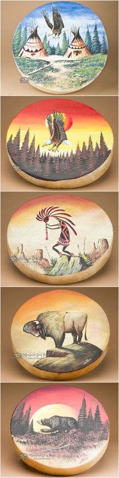 Native American drums are an important part of Native life and culture. Hand painted drums have come to identify both the drummer and his tribe, and preserve the culture through drawings of nature and legend.  Ceremonial drums, pow wow drums,  and hand drums, not only play a role in drumming circles and ceremonies, but also make beautiful southwestern home decor accents.  See more Native American drums at www.missiondelrey.com