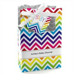 Chevron Rainbow - Classic Personalized Baby Shower Favor Boxes