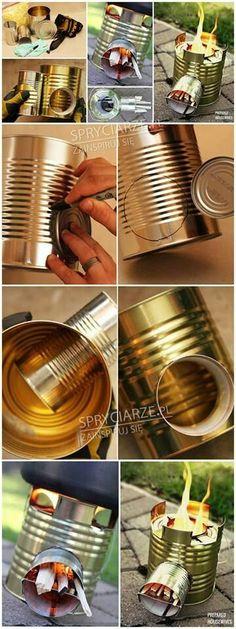 Tin can light #bushcraftfire