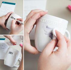 DIY Sharpie Paint Pen gift mug.  Use Paint Sharpie only, bake.